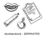 dental and hygiene sketch icons ... | Shutterstock .eps vector #309944705