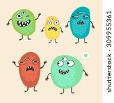funny monsters. vector... | Shutterstock .eps vector #309955361