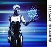 future technology. robot woman...   Shutterstock . vector #309973514