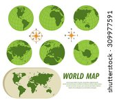 earth globes with detailed... | Shutterstock .eps vector #309977591