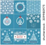 collection of blue xmas... | Shutterstock .eps vector #309980975