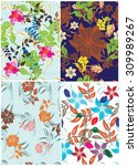 floral seamless pattern set  ... | Shutterstock .eps vector #309989267