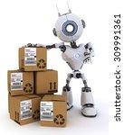 3d render of a robot with... | Shutterstock . vector #309991361