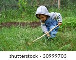 small boy with small rake | Shutterstock . vector #30999703
