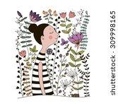 girl in floral garden.  hand... | Shutterstock .eps vector #309998165