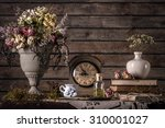 vintage still life with flowers ... | Shutterstock . vector #310001027