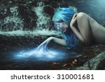 river nymph with magical water... | Shutterstock . vector #310001681