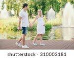 Happy Pregnant Woman Walking...