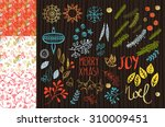christmas floral decoration and ... | Shutterstock .eps vector #310009451