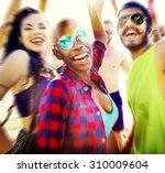 teenagers friends beach party... | Shutterstock . vector #310009604