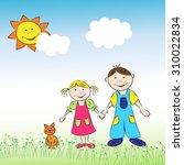the children  a boy and a girl... | Shutterstock .eps vector #310022834