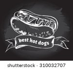 hot dog and banner. hand drawn... | Shutterstock .eps vector #310032707