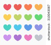 flat design colors on hearts.... | Shutterstock .eps vector #310043087