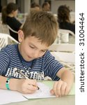 Kid drawing - stock photo