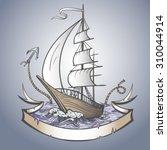 Vector Color Ship On Sea Ribbon ...