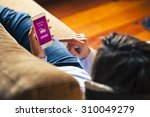 woman touching mobile phone... | Shutterstock . vector #310049279