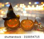 holidays  halloween party and... | Shutterstock . vector #310054715