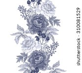 Vector background with the image of garden flowers peony, roses, ornamental grasses and berries. Seamless pattern. Floral ornament. Victorian style. Vintage.
