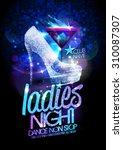 Ladies night vector poster illustration with high heeled diamond crystals shoes and burning cocktail.