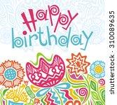 happy birthday greeting card...   Shutterstock .eps vector #310089635