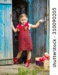 girl in a red dress near the... | Shutterstock . vector #310090205