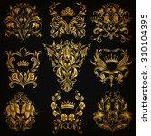 set of gold damask ornaments.... | Shutterstock .eps vector #310104395