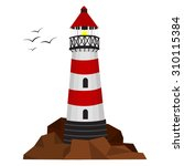 lighthouse on the rocks with...   Shutterstock .eps vector #310115384