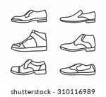 vector outline shoes icon set | Shutterstock .eps vector #310116989