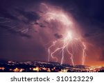 beautiful lightning over night... | Shutterstock . vector #310123229