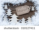 brown christmas label with... | Shutterstock . vector #310127411