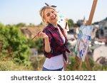 beautiful blonde woman artist...   Shutterstock . vector #310140221