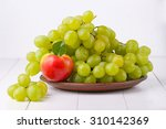 Grapes With Apple On The Table