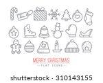 christmas flat icons drawing... | Shutterstock .eps vector #310143155