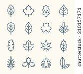leaf line icons | Shutterstock .eps vector #310157171