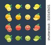 fruit flat icons. vector set. | Shutterstock .eps vector #310165631
