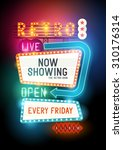 theatre retro vector sign with ... | Shutterstock .eps vector #310176314