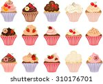 vector set of cakes and...   Shutterstock .eps vector #310176701