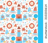 card with sea icons on white... | Shutterstock . vector #310203614