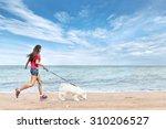 Stock photo young beautiful asian woman walking with dog near sea 310206527