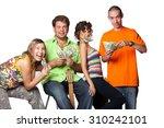 friends express emotions  joy ... | Shutterstock . vector #310242101