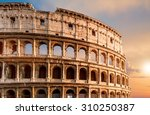 coliseum during sunset in rome... | Shutterstock . vector #310250387