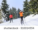 A Woman Cross Country Skiing I...