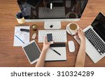 office workplace with laptop... | Shutterstock . vector #310324289
