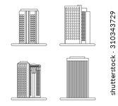 city skyscrapers icons set.