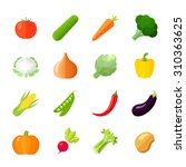 vegetables icons flat set with... | Shutterstock . vector #310363625