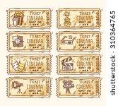 cinema sketch paper ticket set... | Shutterstock . vector #310364765