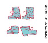 vector cartoon flat shoes set...