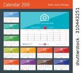 desk calendar 2016. vector... | Shutterstock .eps vector #310443251