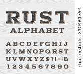 retro distressed alphabet font. ... | Shutterstock .eps vector #310461794