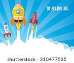 cartoon spaceships launch | Shutterstock .eps vector #310477535